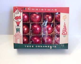 Vintage Red Ornaments - Red Glass Ornaments - Red Ball Ornaments - Mid Century Christmas