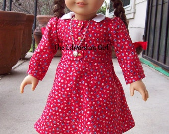 OOAK vintage red floral print with gold buttons 1930's/1940;s era for 18 inch play dolls such as American Girl, Springfield, OG. Made in USA