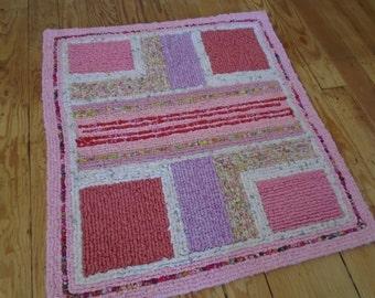 "Perfect in Pink  Locker Hooked Rug  Handmade 28"" x 26"""