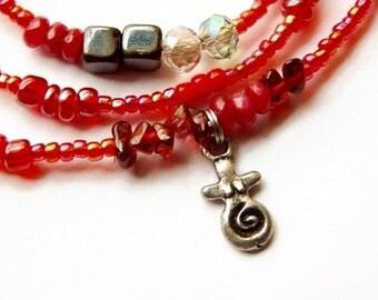 Ruby Hematite Womb-Wellness Waist Beads, Goddess Ruby Waist Beads, Hematite Waistbeads, Silver-Red Belly Chain,