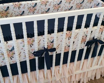 Girl Crib Bedding- Boho Baby Bedding- MADE TO ORDER- Custom Navy and Pale Pink Bedding- Boho- Bohemian