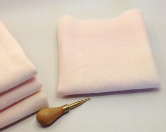Pale Pink Wool,  Hand Dyed Fat 1/4 yard, for Rug Hooking and Applique, W297, Touch of Pink, Blush Pink, Soft Pink Cream
