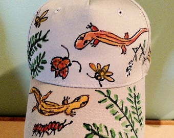 Salamanders and Bugs Baseball Cap Handpainted for Adults and Kids