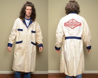 vintage 30s 40s mechanic coat HBT denim smock jacket gas station attendant 1930 1940 workwear Universal Overall Briggs Stratton 44 XL