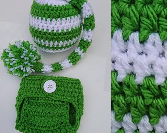 Baby hat and nappy set, green and white, diaper cover, green pom pom hat, newborn photography prop or great gift.