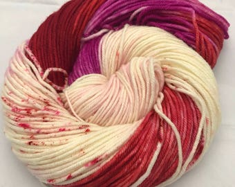 Trevor Morgan DK, Hand Dyed Yarn, DK weight, Superwash Merino, Number 3, 8 ply, Hand dyed, Light Worsted, Berry Relaxer