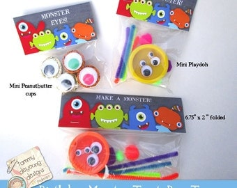 Make A Monster Birthday Treat Bag Labels, Kids Birthday Party Favors, Monster tags, goodie bag toppers, monster birthday favor, loot bags