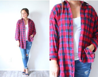 30% OFF VALENTINES SALE Vintage red plaid flannel shirt // large red checkered // plaid lumberjack shirt // long sleeve shirt // Mens flanne