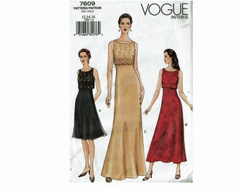 Dress Uncut Sewing Pattern Long or knee length A line Fitted Dress Bodice Sizes 12 14 16 Bust 34 36 38 Vogue 7609
