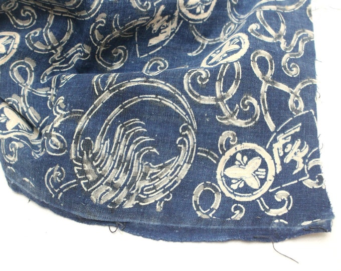Japanese Katazome Boro Textile. Vintage Indigo Cotton. Stencil Dyed Fabric with Multiple Natural Dyes (Ref: 1650)