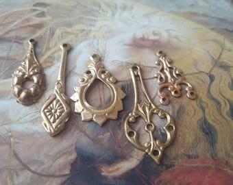 5 Vintage Old Brass Filigree Drop Pendants Beautiful