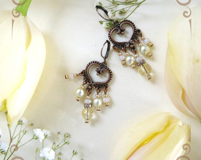 brass chandelier earrings, yellow, light green, bead dangles, heart earrings, retro earrings, victorian earrings, romantic earrings