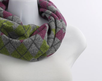 Argyle Sweater Knit Short Infinity Scarf  - SOFT Gray, Raspberry and Lime Green~ WL042-S5