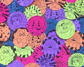 Neon Stickers - 5 x Pack, Rainbow, Zines, Characters, Skulls, Cool Cats