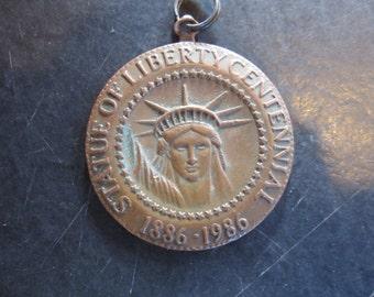 """statue of liberty brass centennial coin, fob, medal, 1 1/2""""  1980's"""