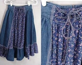 Vintage Prairie Skirt. Jessica's Gunnies. 70s Gunne Sax Skirt. Blue Calico Denim Skirt. Hippie Skirt Boho Ruffled Country Girl Skirt. size S
