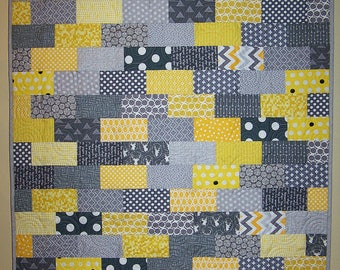 Baby Quilt, Modern Quilt, Gender Neutral, Boy, Girl, Yellow, Gray, Grey, Quilt, Quilts for Sale, Busy Hands Quilts