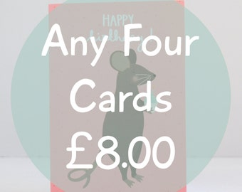 Any 4 Cards, Choose Any Four Greetings Cards, Special Offer, Discount Greetings Cards, Set of Four Birthday Cards, All Occasion Cards Offer