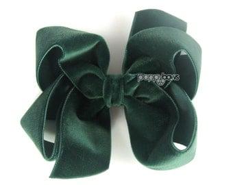 """Hunter green velvet hair bow, 4"""" hair bow, Christmas hair bow, girls hair bows, baby hair bow, velvet hair clip, 4 inch large dark green"""