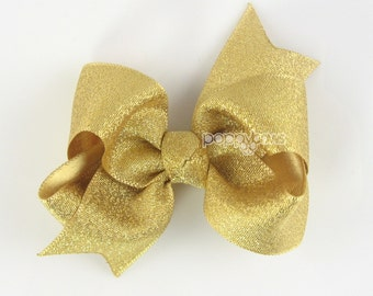 Gold Bow - gold hair bow - gold hair clip - baby gold bow - girl hair bows - toddler girl hairbow - non slip - girl bow - 3 inch bows babies