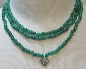 Earth Mined 3 Strands Natural Emerald from Brazil  Beads Choker Set- Choker Necklace and Earring