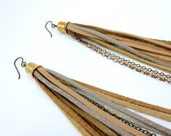 Extra Long Leather Tassel Earrings - Beige, Gold, Peach Leather with Antique Brass, Gold and Copper Colored Chain