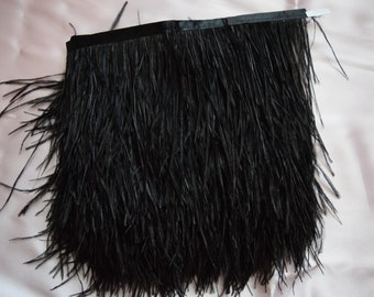 10 yards Ostrich Feather Fringe trim 10-15 cm (4-6 inch), black