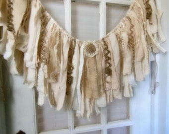 burlap fabric garland, fringe fabric banner, rustic fringe bunting, romantic prop, wedding garland,  window decor