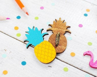 Pineapple Brooch Pin | Tropical Jewellery | Statement Fruit Accessories | Colourful Pineapple | Nickel Free