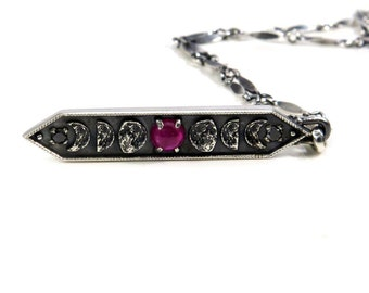 Ruby and Black Diamond Moon Phase Bar Pendant - Sterling Silver
