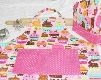 Sweet Cupcakes Youth Apron and Adjustable Chef Hat with pink polka dot accents - ready to ship