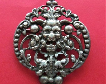 On Sale Antique Sterling Silver Bacchus Brooch Horned Devil Florentine Pin Jewelry Circa 1920