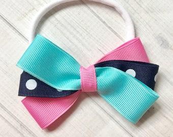 Pink Aqua Navy Headband-M2M Eleanor Rose, Nylon Headband, Baby Headband, Baby Girl Headband, Pink Aqua Bow, Pink Navy Bow, Girls Headband