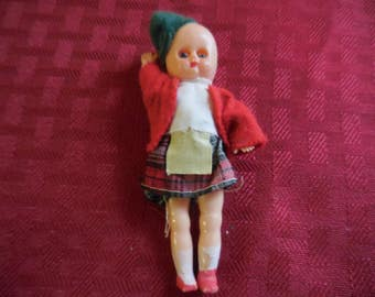 Vintage  1950s to 1960s Retro Hong Kong Made Tiny Plastic Doll Clothed Girl Skirt/Hat Sleepy Eyes Small Little Mini Swing Arms and Legs