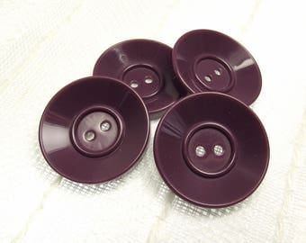 """Pale Mulberry: 1-3/16"""" (31mm) Purple Buttons - Set of 4 Large Matching Buttons"""
