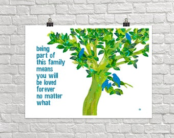 Being Part Of This Family 18x24 Landscape Art Poster Giclee Typography Birds Tree Lisa Weedn