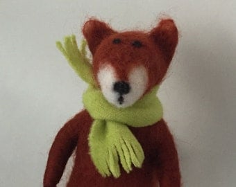 Needle Felted Red Fox ornament