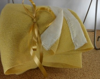 Yellow Wool Vintage Blanket 1940s Interesting Weave SPECIAL PRICING Use/Cutter