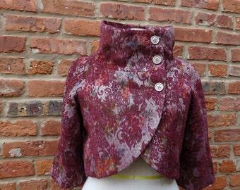 Short Jacket,Tapestry Jacket,Burgundy Jacket,Nine Muses Of Crete