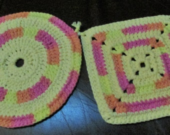 Crocheted Hot Pads or Pot Holders, set of 2 ~ Yellow with pink and orange