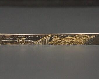 Vtg Japan Tie Bar Clasp Sterling Gold Damascene 950 Silver
