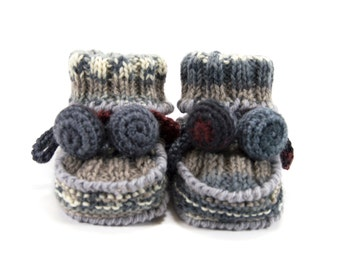 Knitted Baby Booties, Wool Baby Booties, Gray Tones, 3 - 6 months
