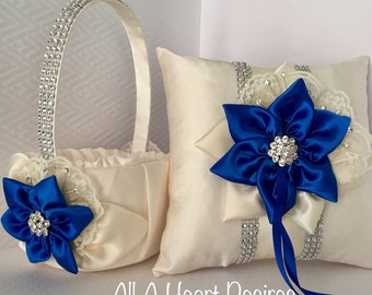 Ivory Flower Girl Basket, Ring Bearer Pillow, in ivory with Royal Blue Satin Trim and Rhinestone Mesh Trim