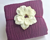 Eggplant Cheesecloth Wrap with Cream Ivory Bead Center Flower Headband Purple Newborn Baby Girl Photo Session, Baby Shower Gift, Photo Prop