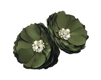 Olive Green Flower Hair Clips with Swarovski Crystals - Shoe Clips, Brooch for a Bride, Bridesmaid, Gift, Special Event Photo Prop Kia