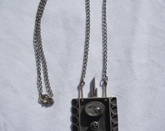 Modernist Sterling and Natural Stone Pendant Necklace, Rutilated Quartz, Garnet
