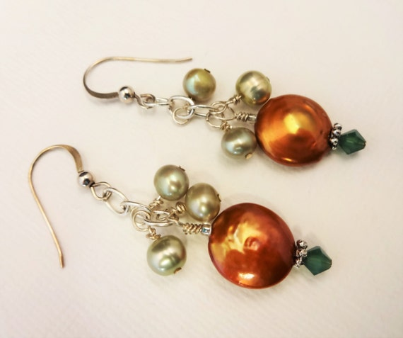 Copper and Green Coin Pearl Earrings