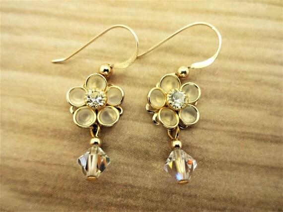 Swarovski Crystal Flower Earrings