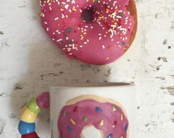 "Pink Donut Mug with Rainbow Sprinkles! ""Donut Worry, Be happy!"""