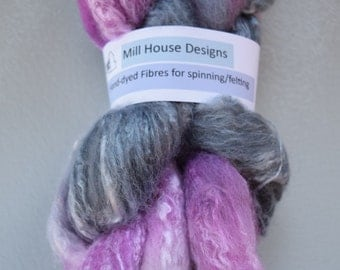 Hand-dyed Merino wool/bamboo blend fibres